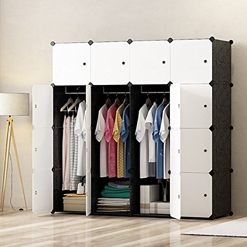 PREMAG DIY tragbarer Kleiderschrank, modularer Speicher-Organisator, Raumersparnis Armoire, tieferer Würfel mit hängendem Rod 16 Würfel