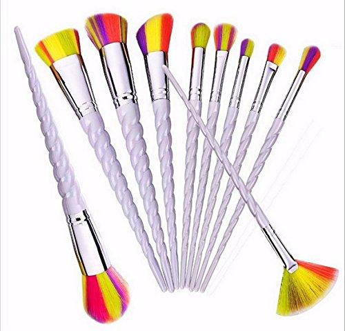 fwehfefh Maquillage Brush Set En Bois Maquillage Professionnel Set Eye Brush Set Fondation Brosse Poudre Pinceau Set Yellow 10PCS