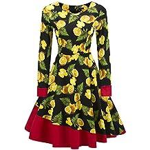 ZAFUL Mujer Vestido de Fiesta Vintage Elegantes Vestidos Mangas Largas Impresión Floral S-2XL