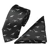 AIEOE Herren Krawatte set Klassishe Krawatte mit Einstecktuch Lustig Dinosaurier gedruckt Krawatte Taschentuch Set Schwarz
