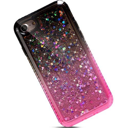 Qjuegad Kompatibel mit iPhone 7/8 Handyhülle Silikon Hülle Glitzer Treibsand fließende Flüssigkeit Bling Diamant TPU Gel Handytasche Cover Case,Schwarz + Rosa