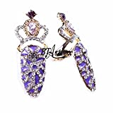 BTArtbox Crystal False Nail Gorgeous Nail Ring Mixed Metal Purple Rhinestone Finger Ring Cosplay Decoration