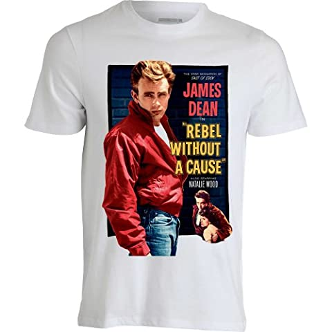 James Dean Rebel Without a Cause Vintage Movie Poster T shirt Homme Blanc (L)