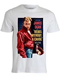 James Dean Rebel Without a Cause Vintage Movie Poster T shirt Herren Weiss