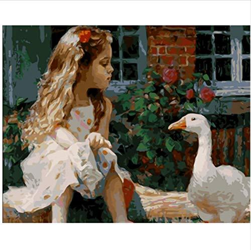CZYYOU DIY Digital Malen Nach Zahlen Mädchen In Weiße Gänse Ölgemälde Wandbild Kits Coloring Wandkunst Bild Geschenk - Mit Rahmen - 40x50cm -