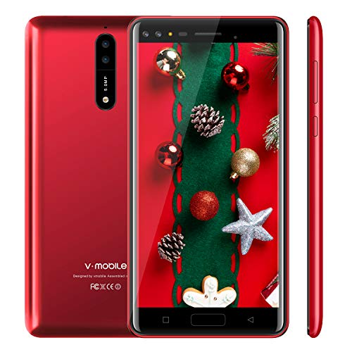 Moviles Libres Baratos 4G,V Mobile S39 5.5 Pulgadas 16GB ROM 5MP Cámara Dual Sim Android 7,0 2800mAh Batería Quad Core Telefono Movil Libres Baratos(Rojo)