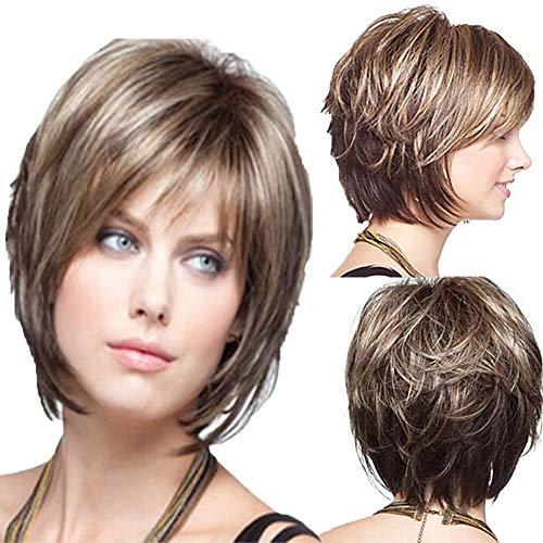 Frauen Perücke Kurze Braune Lockiges Haar Damen Natürliche Hitzebeständig Haar Charakter Cospaly Party Perücke