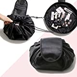 travelmall Magic Cosmetic Travel Pouch, Fashion Cosmetic Bag, FOXTSPORT Large Capacity Portable Drawstring Storage Artifact Magic Travel Pouch Simple Makeup Toiletry Bag, Black