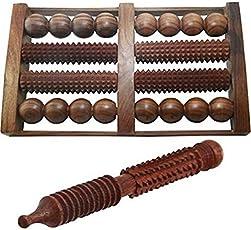 Desi Karigar Wooden Foot Roller 8 slot (With Free Jimmy) Massager