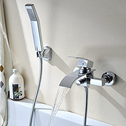Kinse Chrome-plated Tub Taps Waterfall Bathtub Faucet, Wall-in Mounted DIY Shower Sets Incl.Brass Waterfall Mixer Faucet Water Tap with Ceramics Cartridge + Handheld Shower + 1m Connection Hose for DIY Bathroom Bathtub(Hot and Cold Water Alternative)