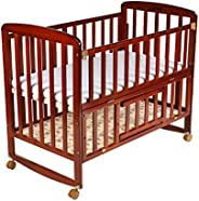 Luvlap C-50M Baby Multipurpose Wooden Cot with Mattress (Cherry Red, Large)