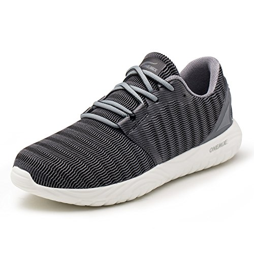 ONEMIX Scarpe da Ginnastica da Uomo, Scarpe da Corsa Casual Sportive Running Fitness Sneakers GrigioNero 42