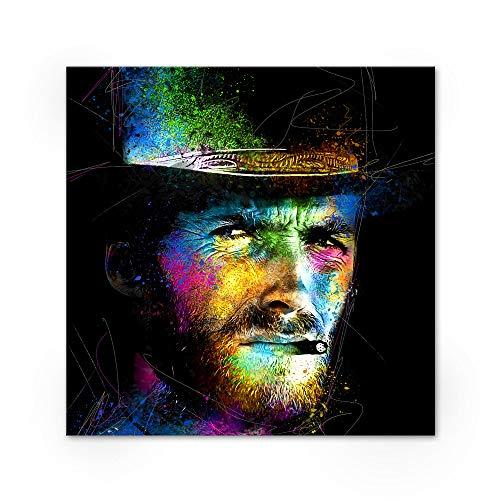 Zabarella Clint Eastwood Western Kunstdruck auf Keilrahmen, Pop Art Wanddekoration Wohnzimmer (80 x 80 cm) (Clint Eastwood Leinwand)