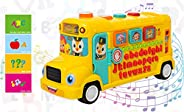 Popsugar - TH3126 Musical School Bus with Play and Learning Functions and Flashing Lights Toy for Kids, Yellow