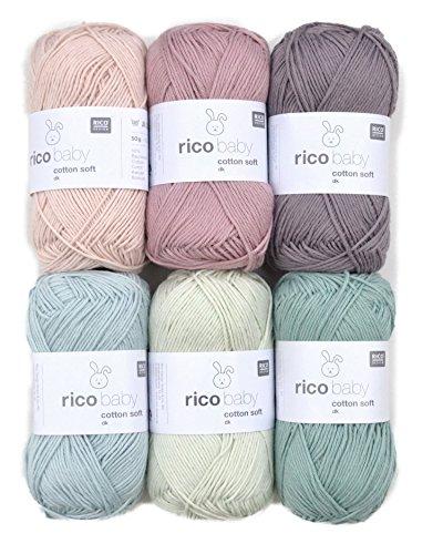 Woll-Set Babywolle Rico Baby Cotton Soft dk 6x50g #46, Baumwollmischgarn, weiche Wolle zum Stricken und Häkeln -