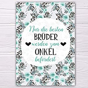 """A6 Postkarte""""Nur die besten Brüder werden zum Onkel befördert!"""" in mint Glanzoptik Papierstärke 235g/m2 Geschenk Bruder"""