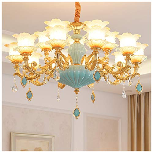 MIAO Kronleuchter Wohnzimmer Lampe Halle Französisch Kristall Lampe Zinklegierung Led Einfache Schlafzimmer Esszimmer Lampen,5 watt LED bulb-10 Heads -