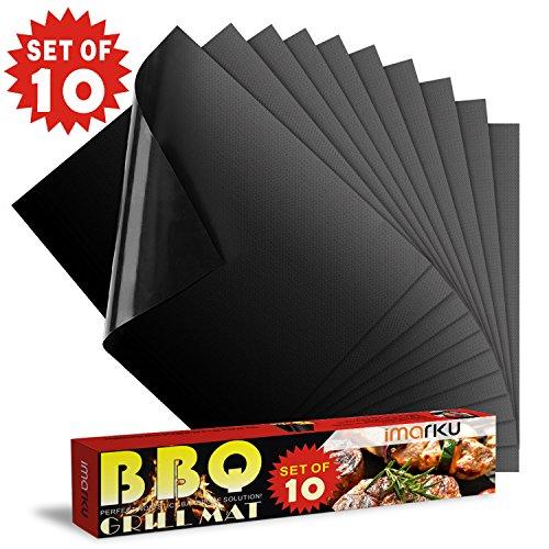 Grillmatte (10er Set), Imarku hochwertige und wiederverwendbare Grillmatte, Grillmatte BBQ Teflon Antihaft 0.2mm dick 40x33cm, ideal für Grill und Herdplatte Anti-Haft, BBQ Grill und Backen