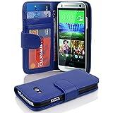 HTC ONE M8 MINI (2.Gen.) Hülle in BLAU von Cadorabo - Handy-Hülle mit 3 Kartenfächer und Standfunktion für ONE M8 MINI Case Cover Schutz-hülle Etui Tasche Book Klapp Style in NEPTUN-BLAU