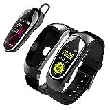 VERYNNA Montre Intelligente Remise en Forme Bracelet Smart Band Bluetooth Casque Réponse Appel Run Run Smart Bracelet avec des écouteurs pour Xiaomi Huawei Smart Phone, Noir