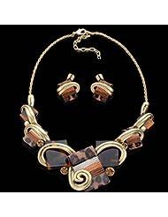 GYJUN Parure collier et boucles d'oreilles - en Alliage - Vintage - Femme