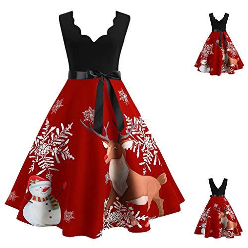 TAMALLU Sweater Kleid Damen Weihnachten Mode Print Damen Abend Regular Tops(Rot A,M)