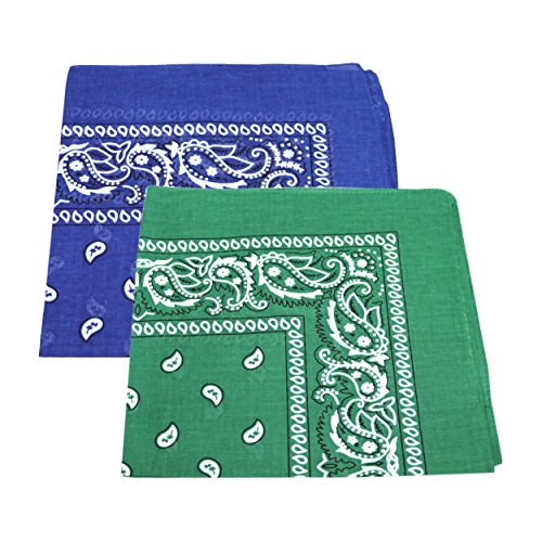 2 x s/s Men'Women'Paisley Head Bandana/Halstuch aus 100% Baumwolle) Grün & Royal Blue (Paisley Bandanas Blue)
