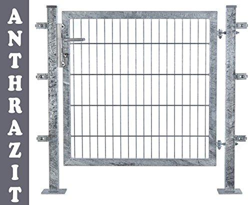 Zaun Tor für Doppelstabmatten 100x100cm feuervz. + anthr., incl. Pfosten und Zubehör