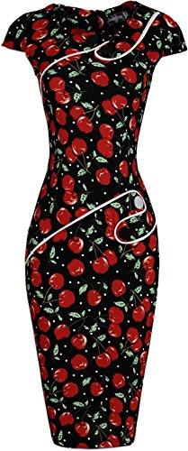 jeansian DamenStitching Buttons High-Elastic Bodycon Dress WKD225 Black&Red