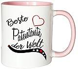 Mister Merchandise Kaffeebecher Tasse Beste Patentante der Welt Freundin Freundschaft Pate Tante Genurt Schwanger Teetasse Becher Weiß-Rosa
