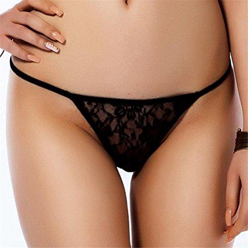 FENGHAO Women's Low Sexy Lace Plus Size Briefs Panties Thongs G-String Lingerie Underwear(3 Colour/Pack), Black, 2XL