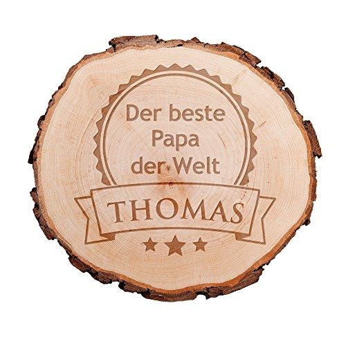 Casa Vivente Baumscheibe mit Gravur – Der Beste Papa der Welt – Personalisiert mit Namen – Perfekt als Türschild, Wandschild, Dekoration, Geburtstagsgeschenk für Väter oder Vatertagsgeschenk –
