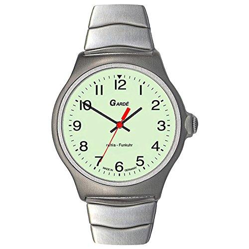 GARDE Herren-Armbanduhr Elegant Analog Edelstahl-Armband silber Funkuhr-Uhr Ziffernblatt weiß grün UGA023076M