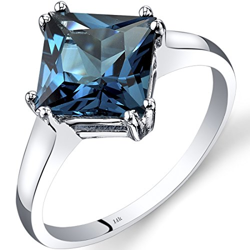 Revoni 14ct White Gold London Blue Topaz Solitaire Ring 2.75 Carat Princess Cut