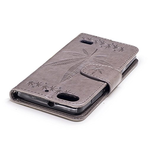 Für Huawei Honor 4C Case Cover, Premium Soft TPU / PU Leder geprägt Ahorn Muster Brieftasche Fall mit Halter & Cash Card Slots & Lanyard ( Color : Gold ) Gray
