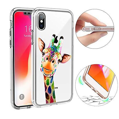 SevenPanda TPU Hülle für iPhone XR Transparent, Kreativ Soft Frame Cover TPU Gel Schutzhülle Silikon Schutzhülle für iPhone XR -Bunte Giraffe -