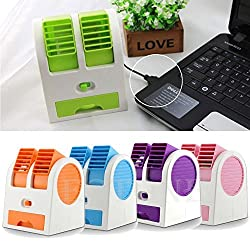 Pramukh Enterprice Mini Dual Bladeless Fragrance Fan Portable Desktop Air Cooler