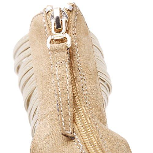 HooH Femmes Sandales Stiletto bout pointu D'orsay Sexy Métal Ankle Strap Gladiateur Escarpins Beige