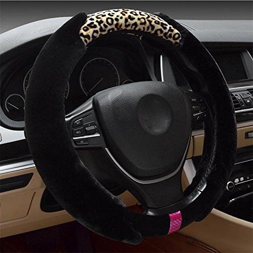 RUIRUI Damen Winter Fell Mode Premium Auto Lenkradbezug , black leopard
