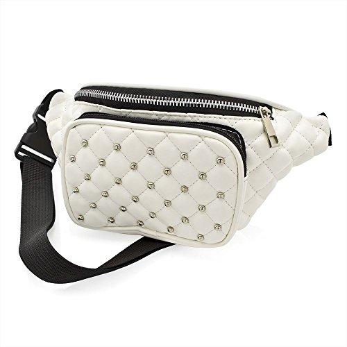 White Padded Studded Bum Bag