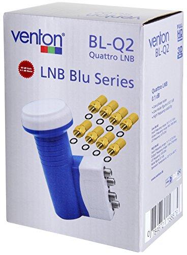 Venton Quattro LNB LNC 0,1dB, ab 4-fach Satelliten Teilnehmer direkt Anschlüsse nur mit Multischalter Switch Sat Anlage, digital full ultra HD-TV 3D 4K UHD, Wetterschutz und Zubehör Set
