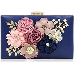 Milisente Damen Clutch Tasche Blumen Abendtasche Hochzeit Bag Elegante Handtasche (Blau)