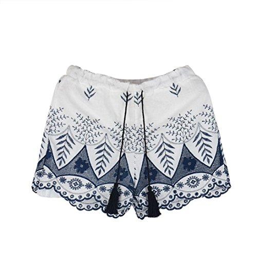 Kavitoz Clearance/Women Summer Shorts, Kavitoz Lace Embroidery Bohemian Casual High Waist Floral Printed Holiday Beach Shorts