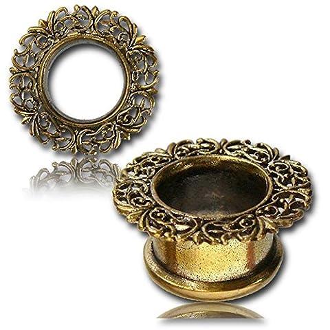 Chic-Net Brass Tunnel Italy Design wreath filigree gold nickel free brass plug Organic Piercing Expander 16