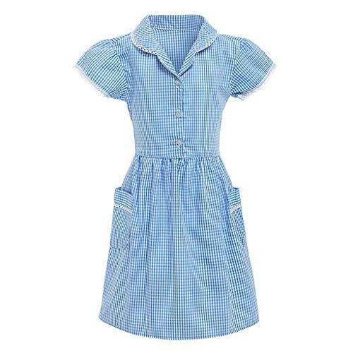 squarex Kids Gingham Girl Kurzarm Princess Turndown Spitze Plaid Check Tasche Schulkleid Outfits Komfortable Freizeitkleidung -