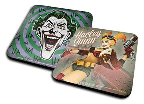 Set of 2 Coasters: Harley Quinn - Dc Bombshells + The Joker, Hahaha (4x4 inches) by 1art1