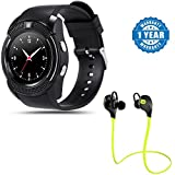 #10: Captcha V8 Sports Fitness Tracker Bluetooth Smart Wrist Watch with Bluetooth Headphones, Sport Earbuds with Mic Hands-Free Calling