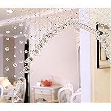 1 cortina de borla Jaminy para puerta, cadena de lujo con perlas de cristal para panel divisor de boda o para decoración de habitación