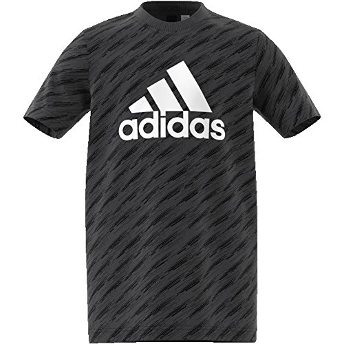 Adidas essentials logo tee maglietta, ragazzo, cf6511, carbon/black/white, 164