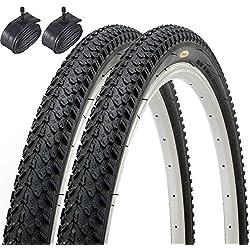 Par de Fincci híbrida neumáticos de bicicleta de montaña Cubiertas 26 x 2,125 57-559 y Schrader tubos interiores